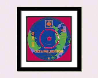 Bob  DylanPoster. Like A Rolling Stone  Pop Art   40X40 CMS Print