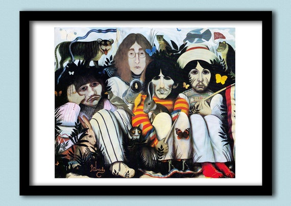 "Beatles Poster. White Album "" A Doll's House"" poster. A2 size. Beatles art.60s rock poster. Classic rock. Album art. Beatles painting."