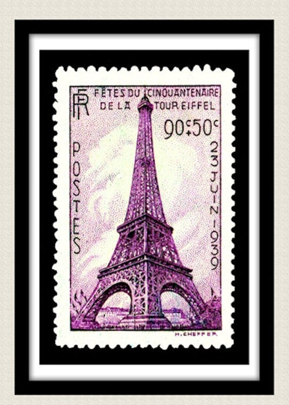 Postage Stamp Print  Vintage 1939 Eiffel Tower 40x60 cms (A2) Poster