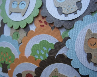 OWL Treetop/Woodland/Sweet Dreams/Pretty Plums Cupcake Toppers for Baby Shower Birthday Party