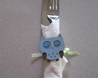 OWL Napkin Wrappers Your Theme Choice for Baby Shower or Birthday Set of 10