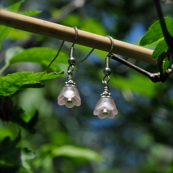 Sweet Pink and Silver Bell Flower Earrings