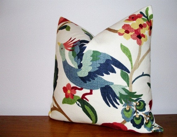 Decorative Pillow Cover-Lucy Eden- Bird- Coral- Red- Green- Teal- 18x18 inches