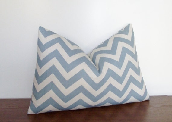 "FREE SHIPPING- SALE- Decorative Pillow Cover- Chevron- Zig Zag- Blue- 12x18"" Lumbar"