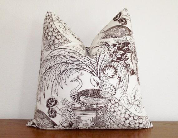 decorative pillow cover peacock toile brown white. Black Bedroom Furniture Sets. Home Design Ideas