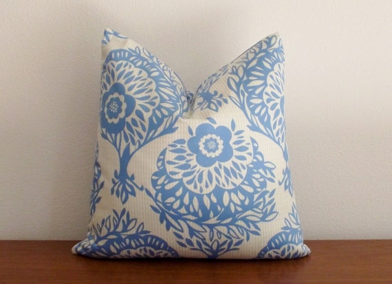 SALE Decorative Pillow Cover Blue Cream 16x16 inches