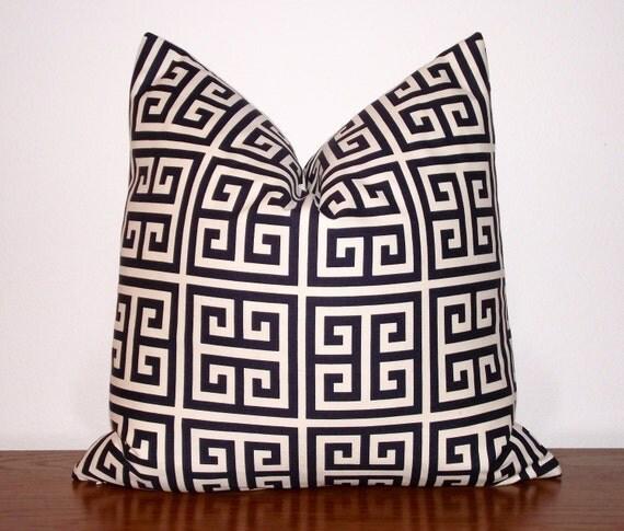 "SALE- Greek Key Decorative Pillow Cover-- Geometric- Ivory- Navy Blue-18x18"""