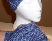Blue  Fingerless Gloves and Headband/Earwarmer Set
