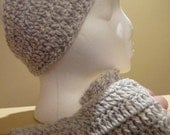 Grey and White Fingerless Gloves and Headband