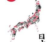 Japan Type Map Poster