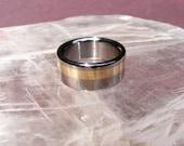 Titanium 14k offset Gold Center Line V2 Wedding Band Ring