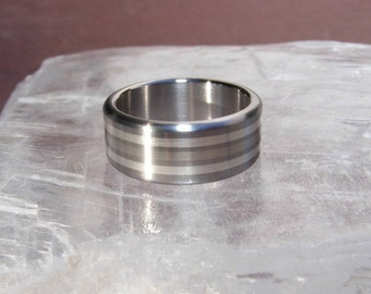 Titanium Triple Element Frost White Gold Silver Ring Wedding Band