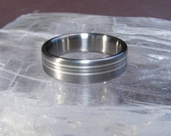 Titanium Triple Element Frost White Gold and Silver Wedding Band Ring