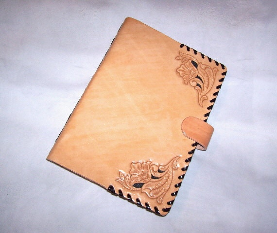 Leather Folio Book Cover-Hand Tooled