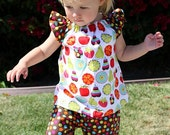 Peasant top and Ruffle Pants set - Tutti Fruiti - Pick you size - 12M through 6 years