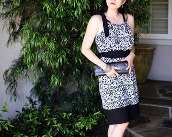 Adult Size PillowCase Dress - Black and White Damask - Pick your size - 4 6 8 10 12 14