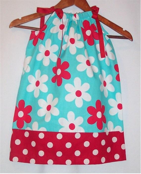 Pillowcase Dress - Aqua Jane - Pick your Size - 12M 18M 2t 3t 4t 5 6 7 8 Years