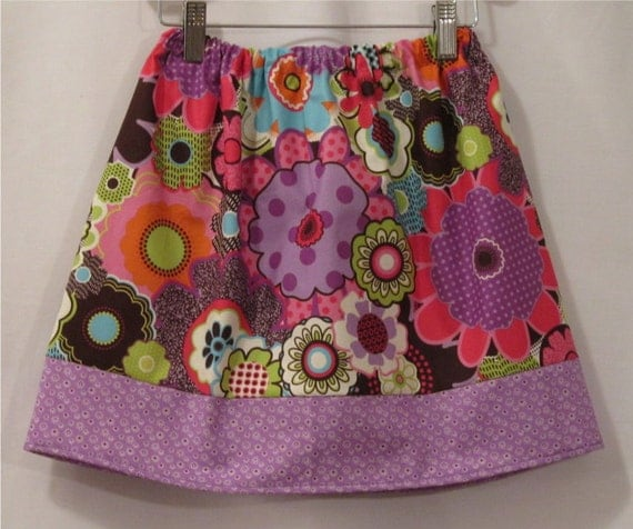 Elastic Waist Skirt - Groovy Flowers -  Pick your size - 18 24 months 2 3 4 toddler 5 6 7 8 9 10 years