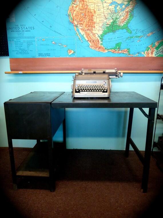 RESERVED FOR ERIKA Vintage Oxford File Folding Steel Industrial  Desk