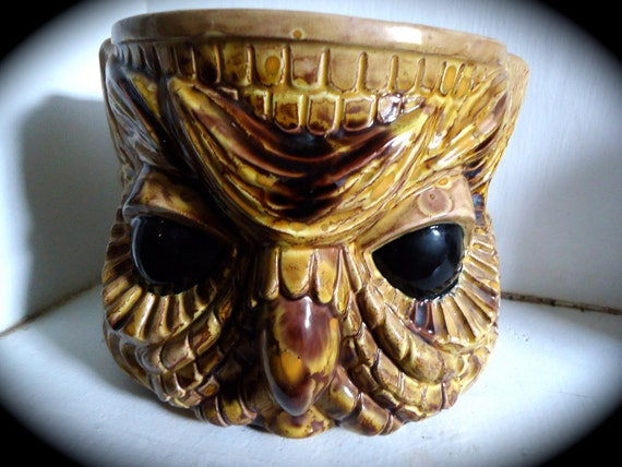 Vintage Glazed Double Sided Owl Vase Planter