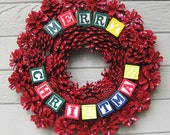 Red Pine Cone Wreath, Alphabet Blocks, Merry Christmas, Front Door Wreath, Holiday Decoration