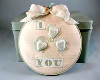 Love You Hoop Art, Embroidery Art, Paper Hoop Art, Sage Green Hoop Art, Husband Wife Gift, Valentine Gift, Wall Decor, Bedroom Decor