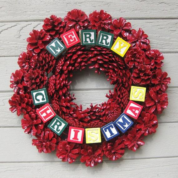 Pine Cone Wreath Red with Alphabet Blocks