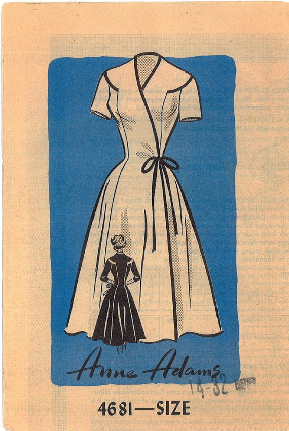 Vintage 1950s Wrap Dress Sewing Pattern Anne Adams 4681 Bust 32