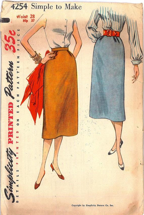Vintage Sewing Pattern 1950s Rockabilly Pencil Slim Skirt UNCUT Simplicity 4254 Waist 28
