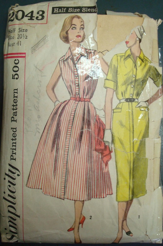 1950s Pin Up Rockabilly Dress with Pencil Skirt or Full Skirt Plus Size Vintage Sewing Pattern Simplicity 2043 Bust 41