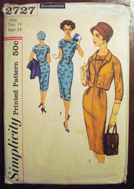 Vintage Sewing Pattern 1950s Mad Men Slenderette Sheath Dress with Jacket Plus Size Simplicity 2727 Bust 34