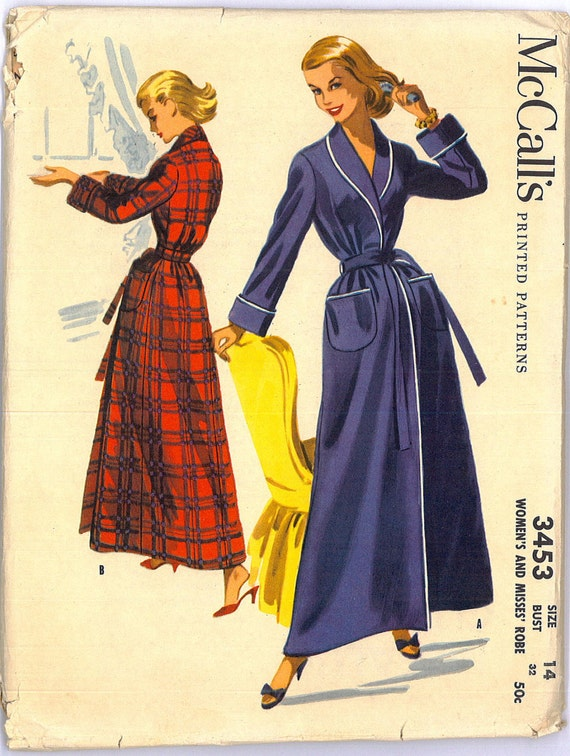 1950s Bath Robe Vintage Sewing Pattern McCall's 3453 Bust 32
