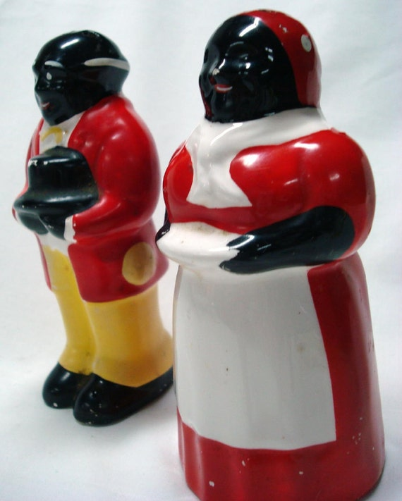 Vintage Aunt Jemima and Uncle Moses RARE Ceramic Salt and Pepper Shakers Black Americana