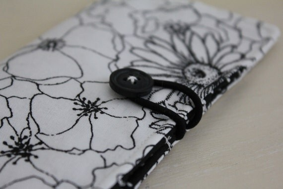 Black and White Flower Tea Wallet - Large