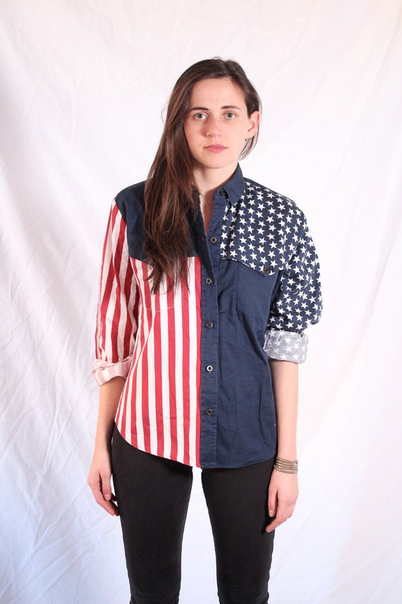 American Flag Blouse M