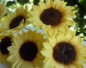 Handmade golden yellow gum paste sunflowers
