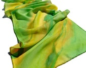 Hand painted silk and wool scarf in green and yellow colors. OOAK by Alery