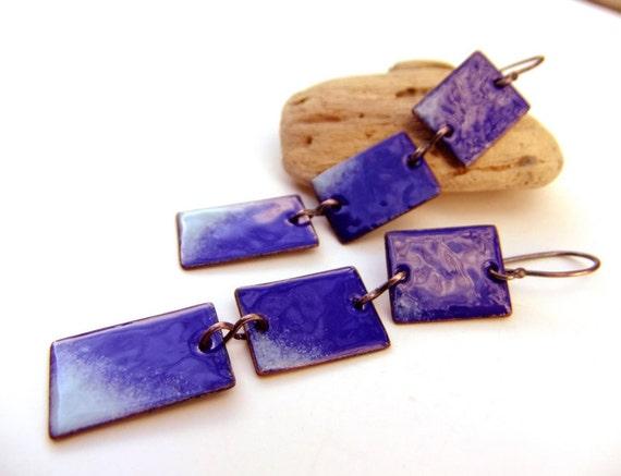 Enamel earrings dark blue. Cobalt. Long. Dangle. by Alery