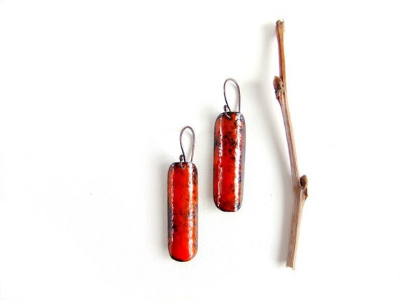 Copper enamel earrings orange black brown tangerine long dangle drop fall autumn jewelry fashion rustic by Alery
