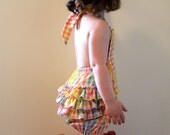 Retro Ruffled Rainbow Bubble Romper, Made to Order Sizes 2T, 3T, 4T. Vintage Madras, Gingham Fabric.  Pastel Sorbet Colors. Photo Prop