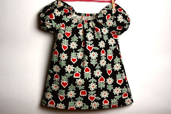 Sale Sale Sale Swedish Berries Peasant Dress 12 months.  Toddler Dress. Little Black Dress. Gift for Baby