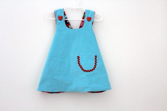 Robin Egg Blue Corduroy and Red Flannel Reversible Pinafore 12 Months.  Holiday Fashion.  Winter Fashion