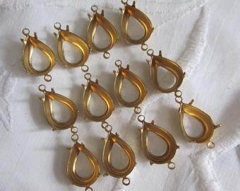 12 Brass Open Back Pear Stone Settings