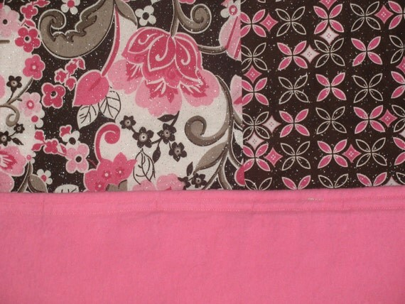 READY TO SHIP - On Sale - Shimmery Pink and Brown Baby or Toddler Block Quilt