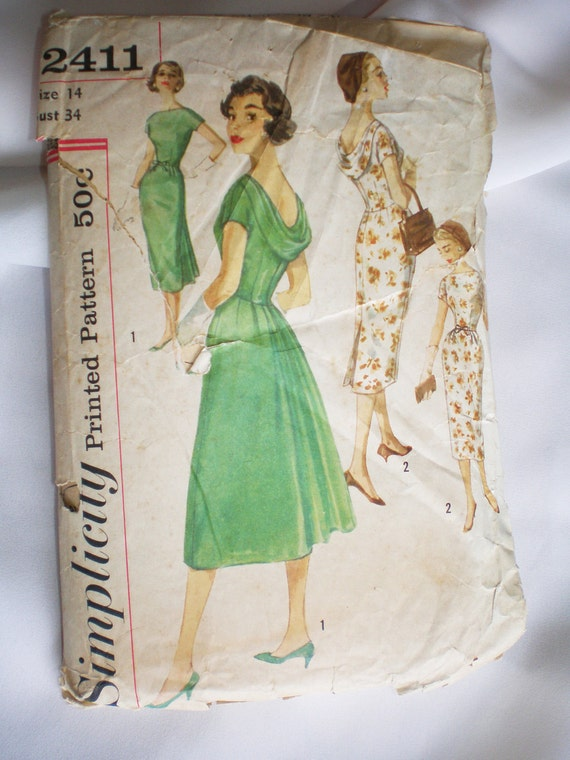 Simplicity 2411 Vintage Sewing Pattern 50s Cowl Back Dress Size 14