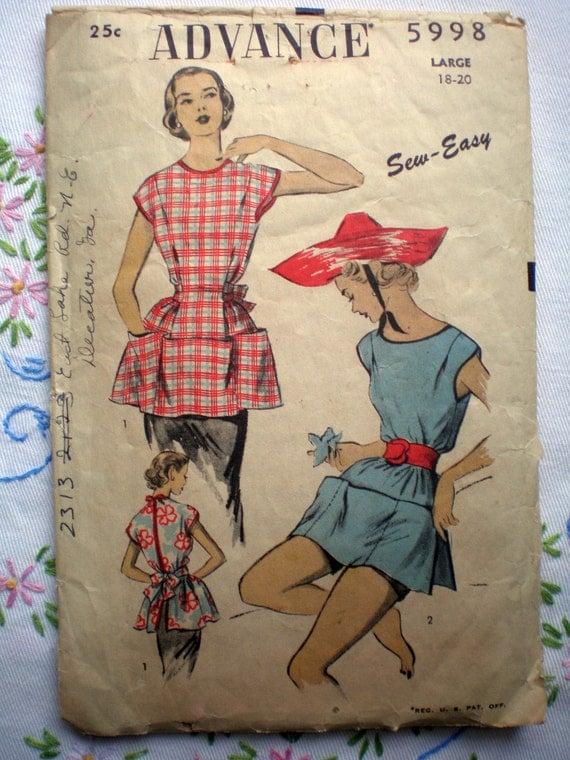 Advance 5998 Cobbler's Apron  or Smock Vintage 40s Gardening Sewing Pattern Size Large