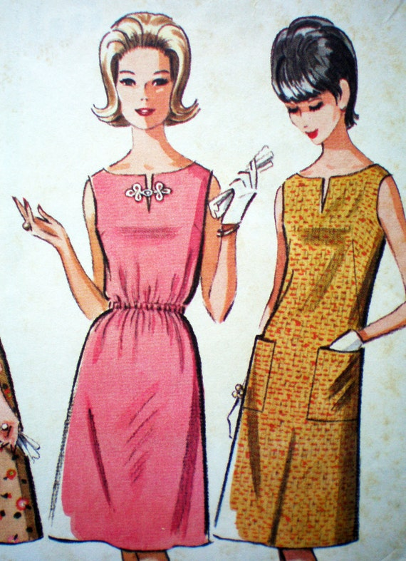 McCall's 7188 Vintage 60s Versatile Shift Quickie Dress Sewing Pattern Size Small