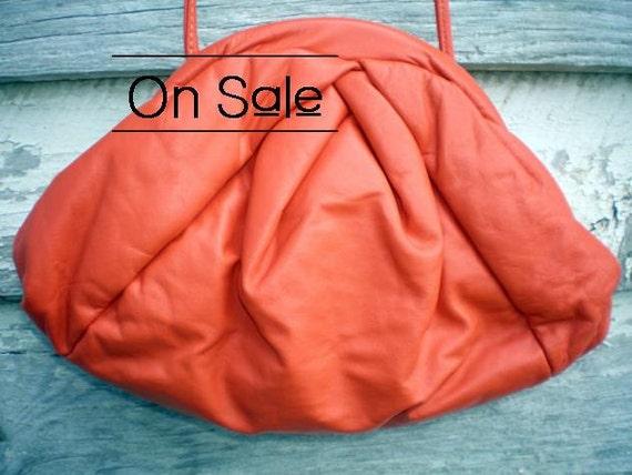 Reserved for Jen Summer Sale 25 Percent Off - Vintage Purse Tangerine Orange Leather Clutch Clamshell Handbag