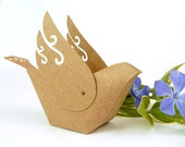 Dove Favor Boxes - Rustic Handmade Kraft Bird Cake Topper or Table Decor - wedding favors , gift packaging , bird ornament - Set of 2