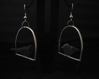perching bird earrings